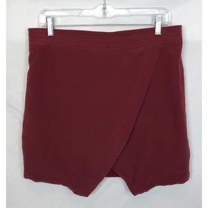 Madewell Burgundy Silk Parkway Mini Skirt Size L